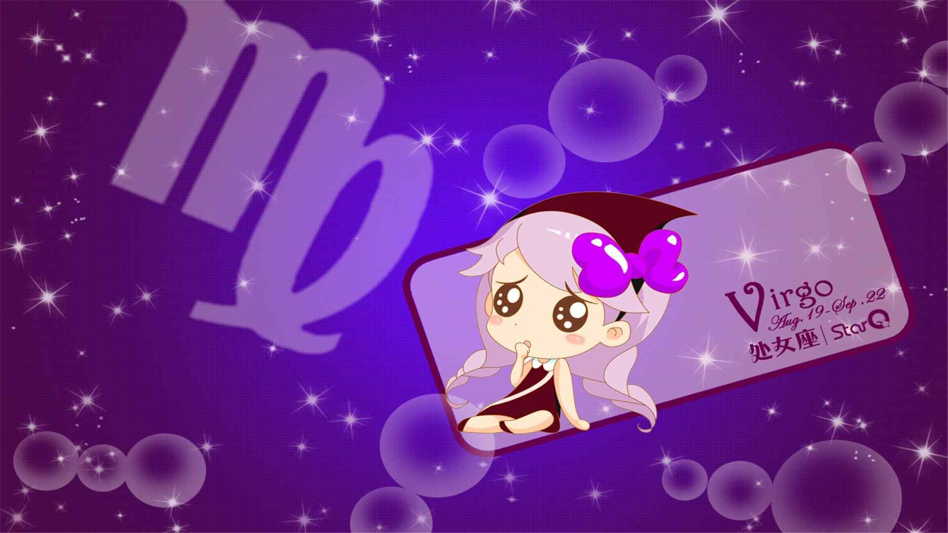 紫色背景下可爱小女孩处女座壁纸下载
