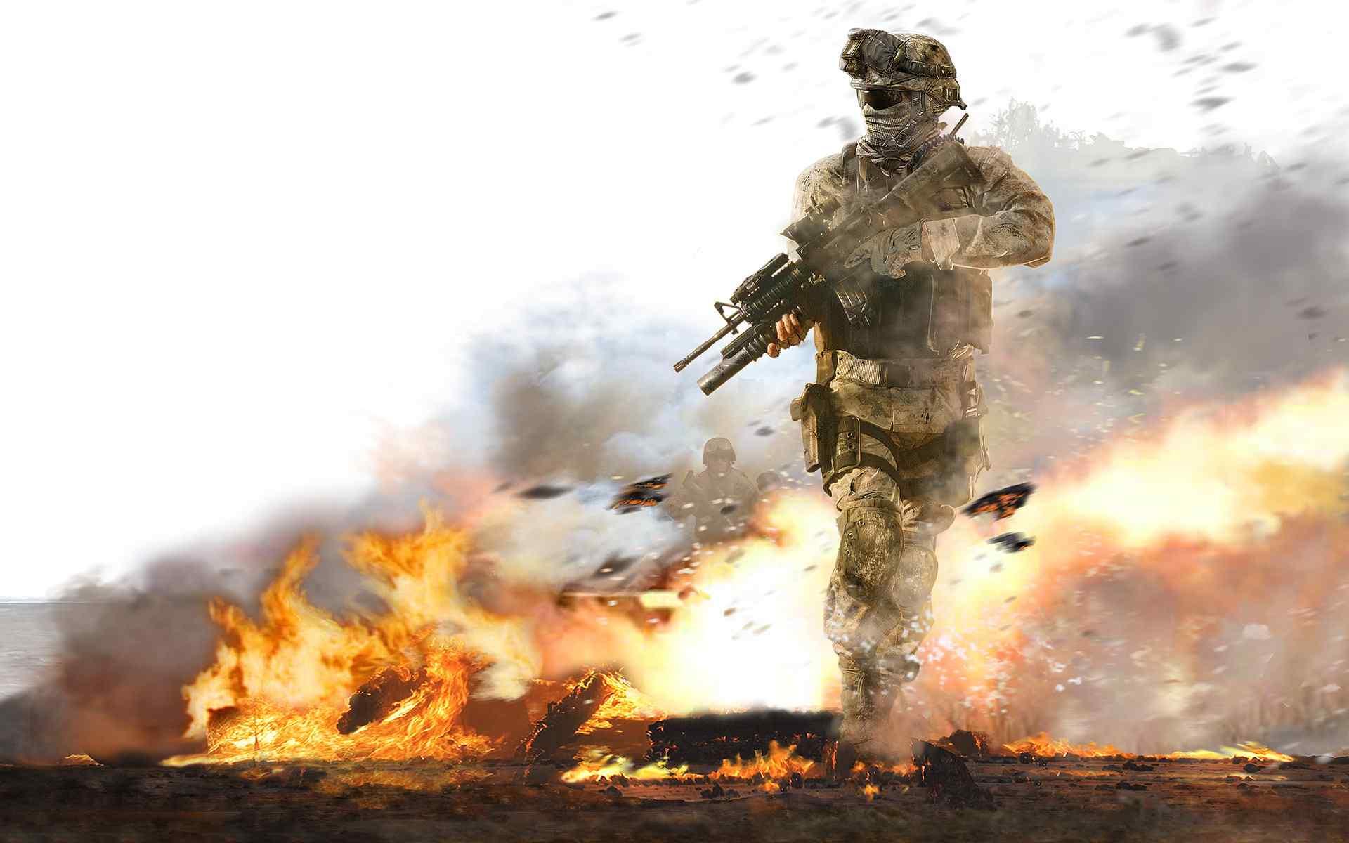 硝烟弥漫战火中的战士高清桌面壁纸下载