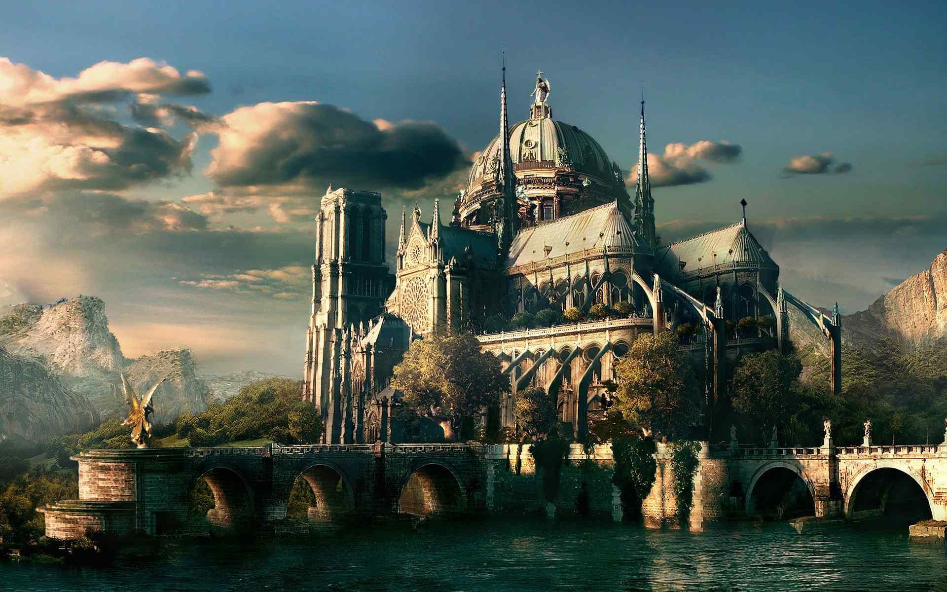 梦幻城堡雄伟壮观高清壁纸