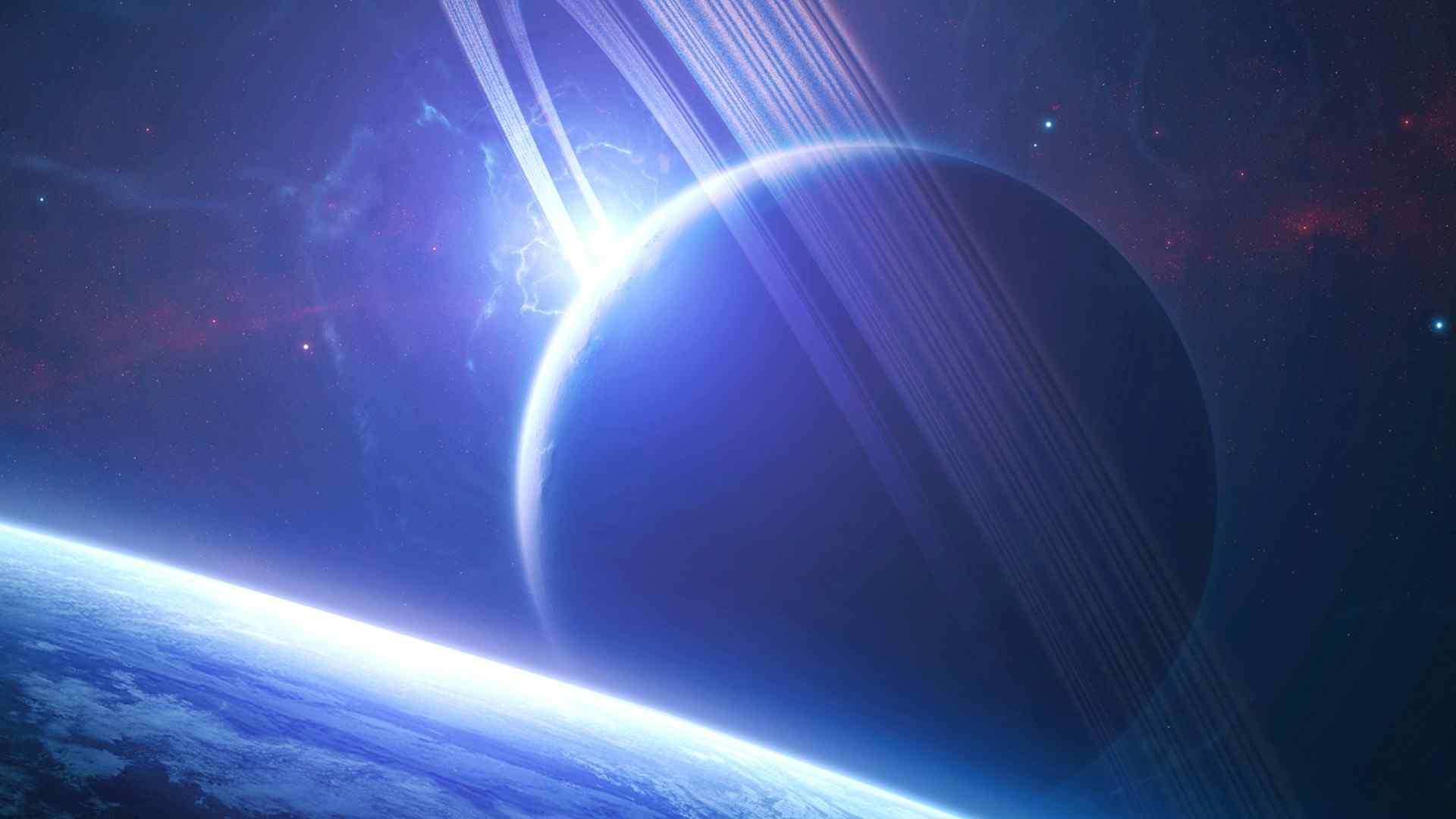 神秘蓝色科幻星球桌面壁纸
