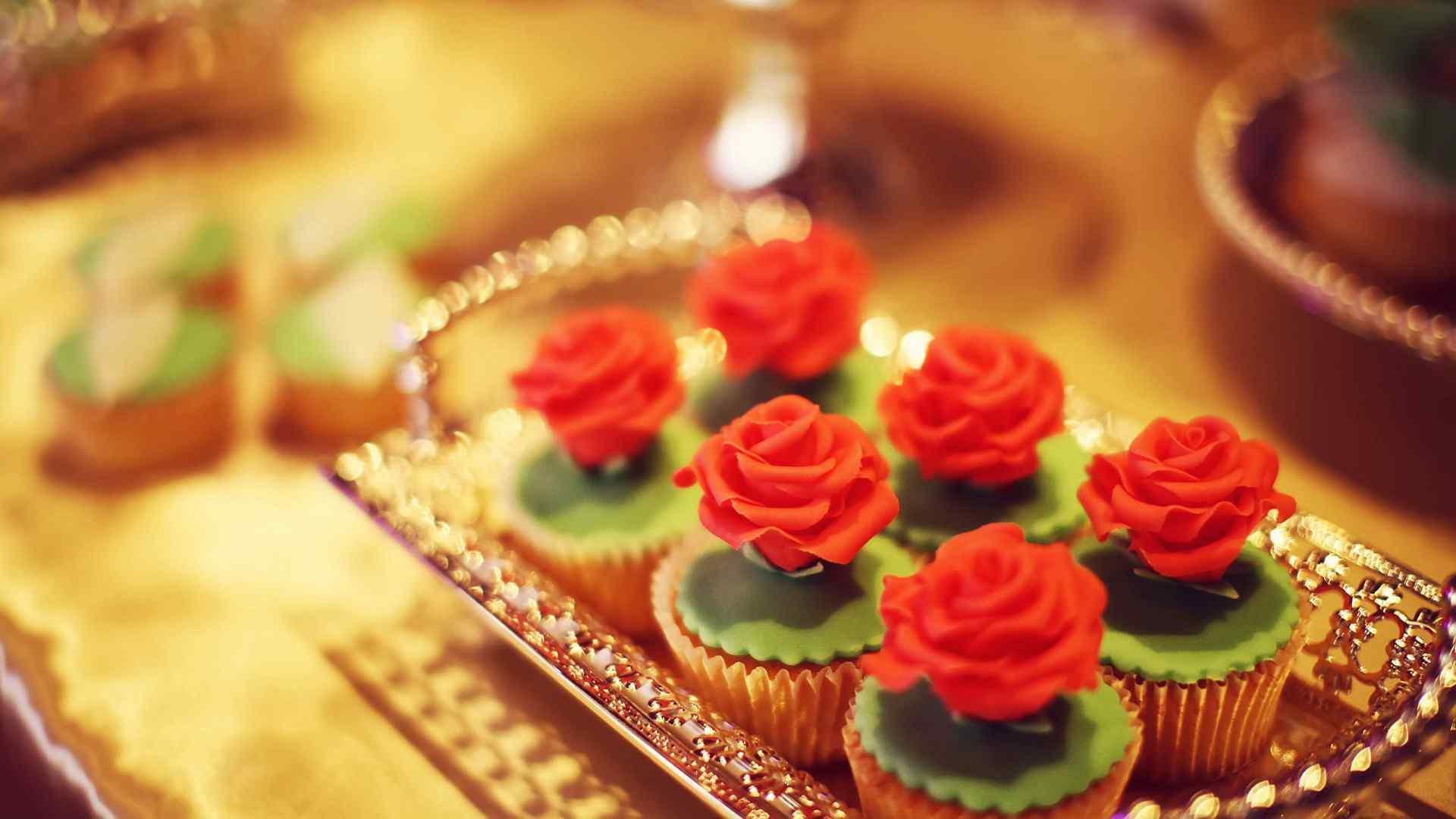玫瑰花精致小蛋糕甜点壁纸