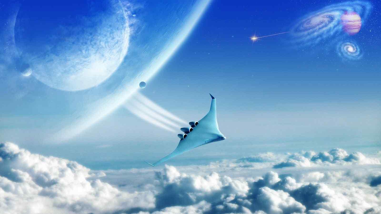 天空飞船简笔画