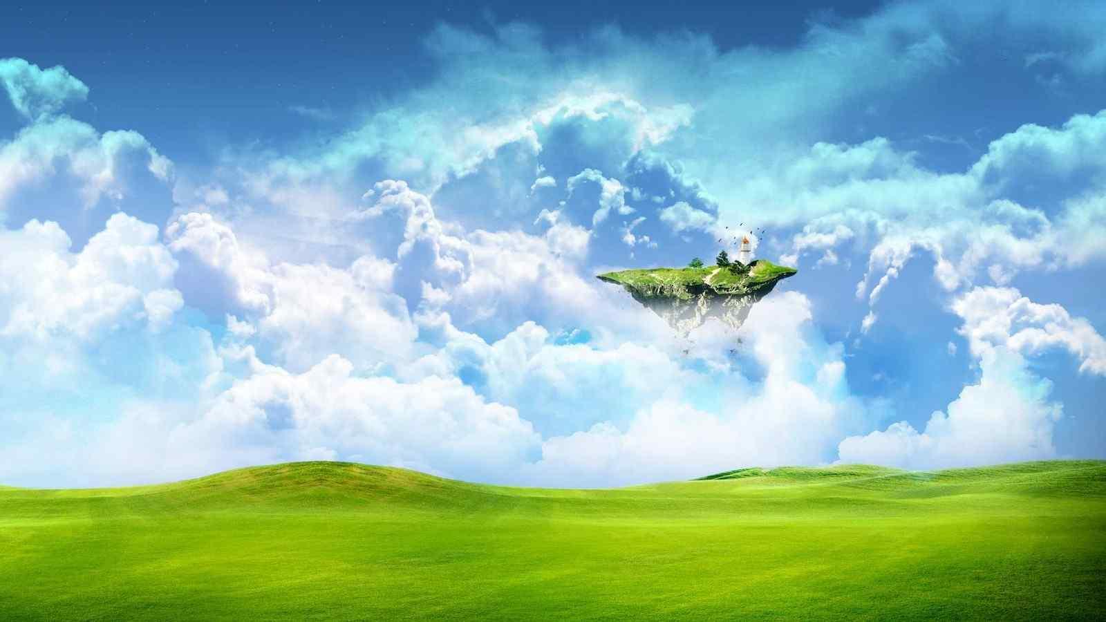 远处蓝天梦幻小岛高清桌面壁纸下载