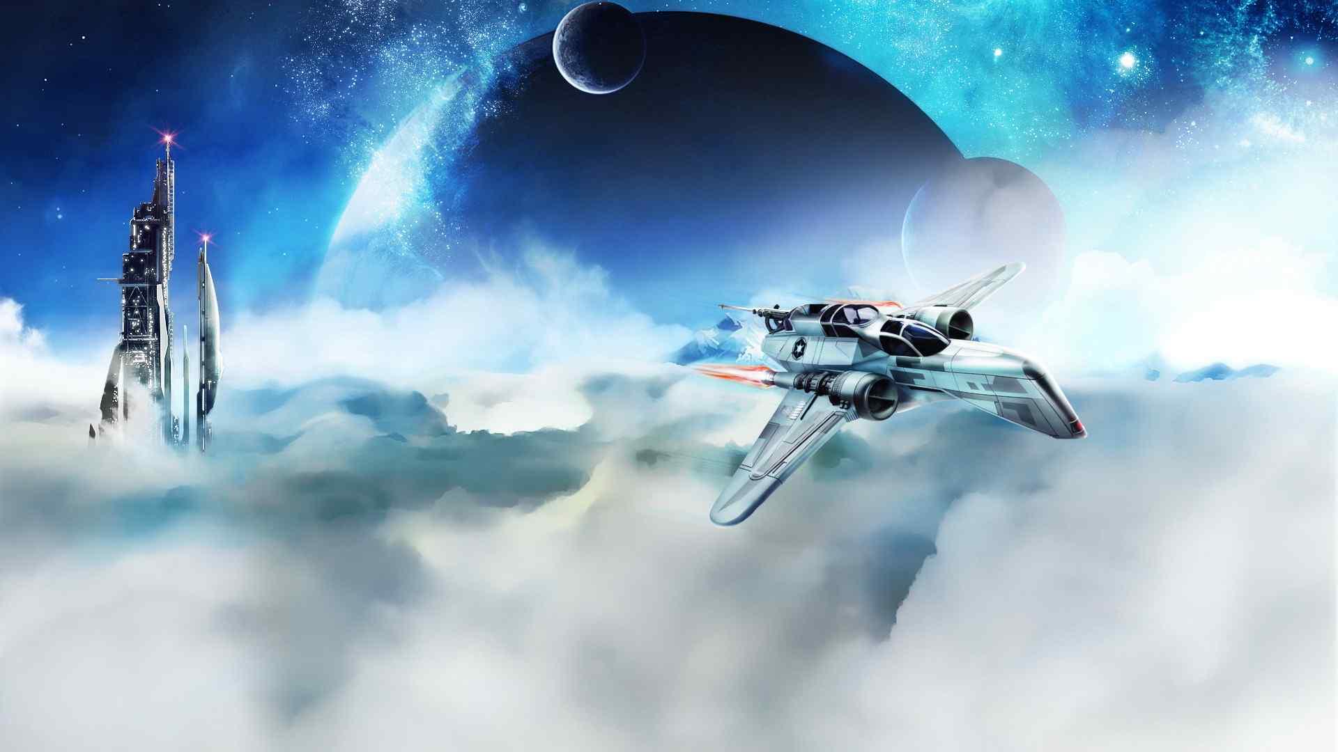 科幻天空战机高清桌面壁纸下载