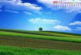 2016年9月日历蓝天草原自然风景桌面壁纸图片