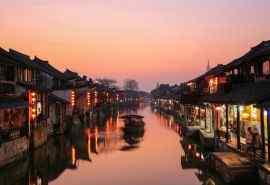 西塘古镇唯美夜景图片桌面壁纸