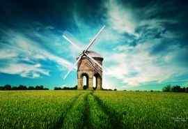 美丽草原上的风车风景摄影高清壁纸图片
