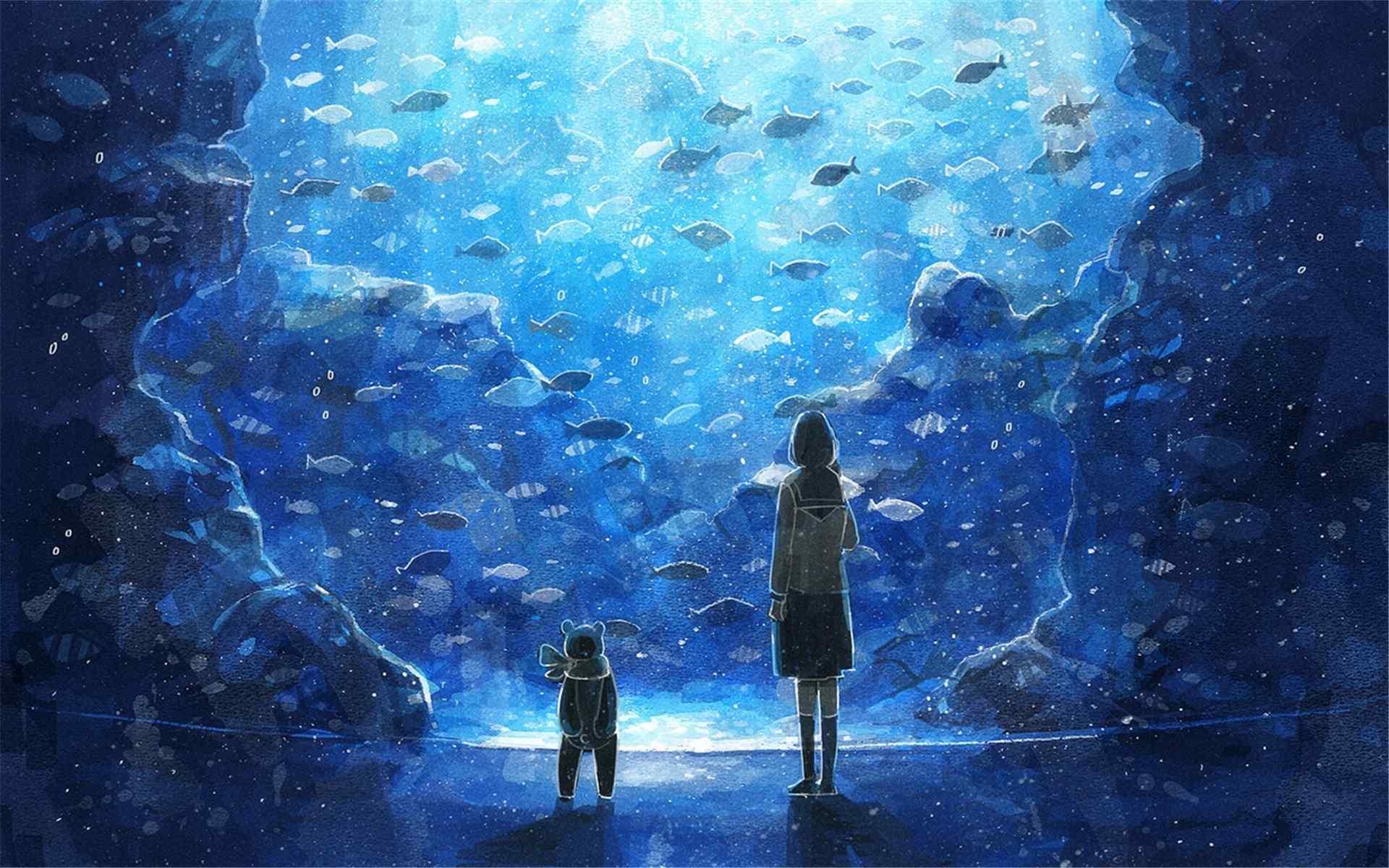 蓝色水族馆女孩与熊唯美意境动漫电脑桌面壁纸