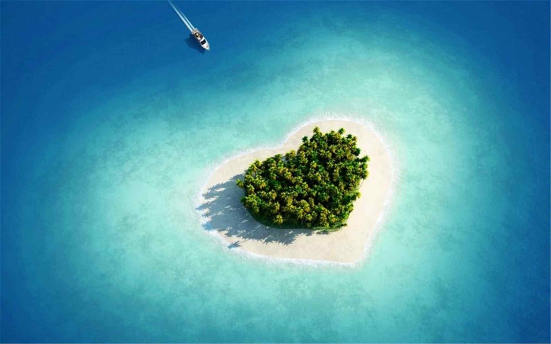 唯美高清自然风景壁纸:爱情岛 大海的心 蓝色经典