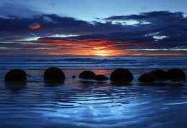 晚霞下的海滨美景唯美风景壁纸