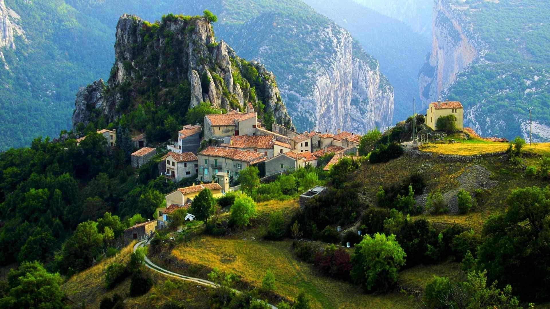 欧洲中南部唯美阿尔卑斯山脉风景桌面壁纸