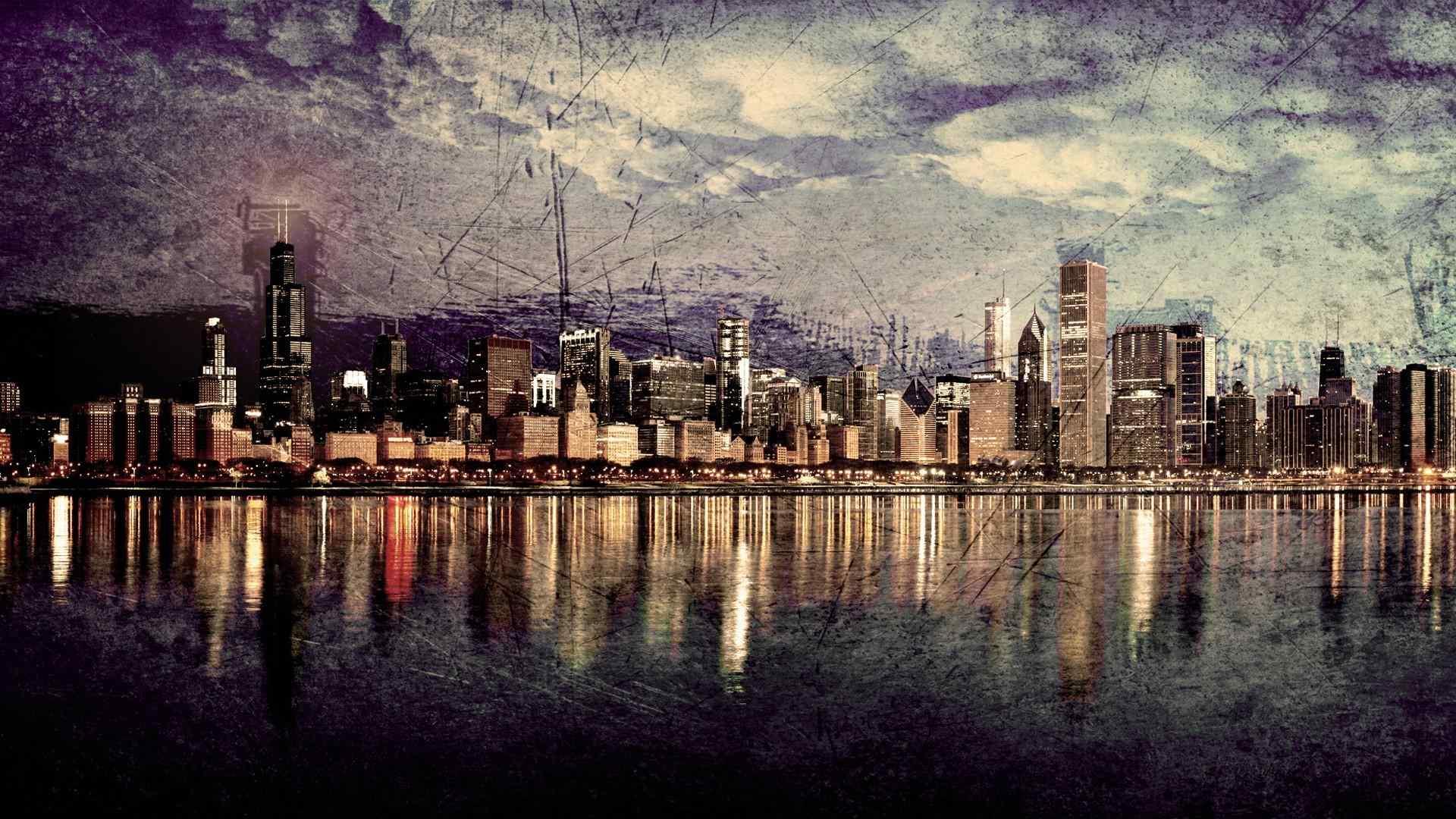 唯美芝加哥城市风景桌面壁纸