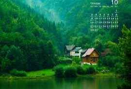 2016年10月日历清新怡人的绿色自然风光