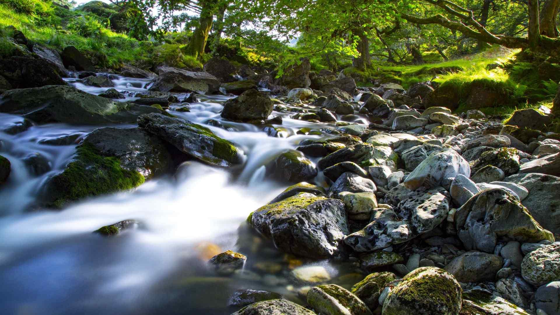 山谷溪流自然风景桌面壁纸