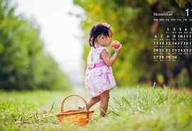 11月日历壁纸之可爱小女孩桌面壁纸