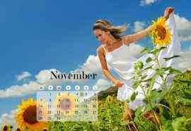 2016年11月日历自然风景中的美女高清电脑桌面壁纸