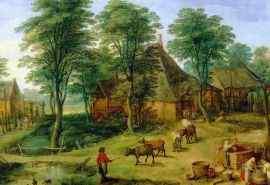 特色勃鲁盖尔月雅戈尔农场风景油画壁纸