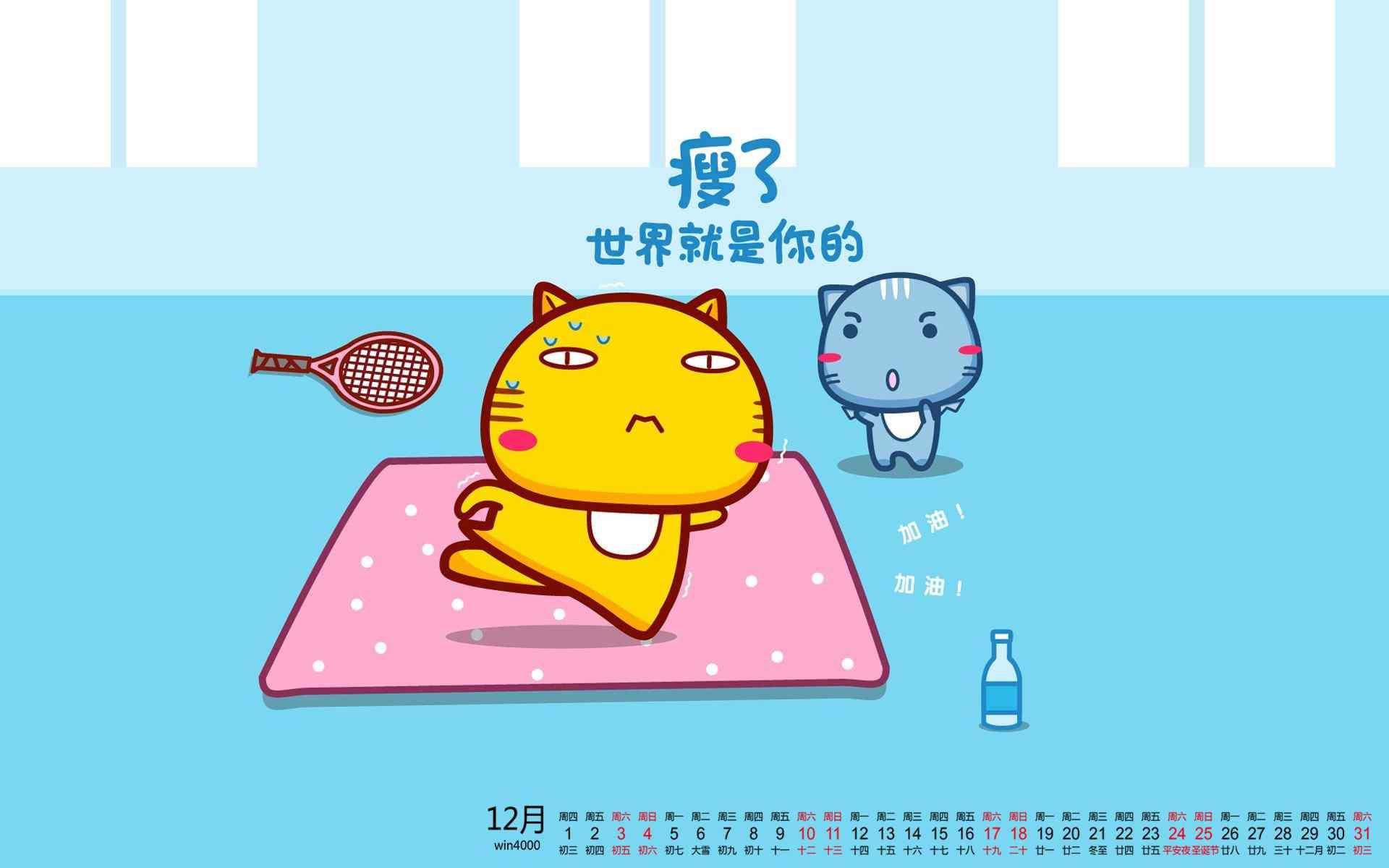 2016年12月日历减肥哈咪猫励志桌面壁纸