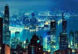 美丽的霓虹城市夜