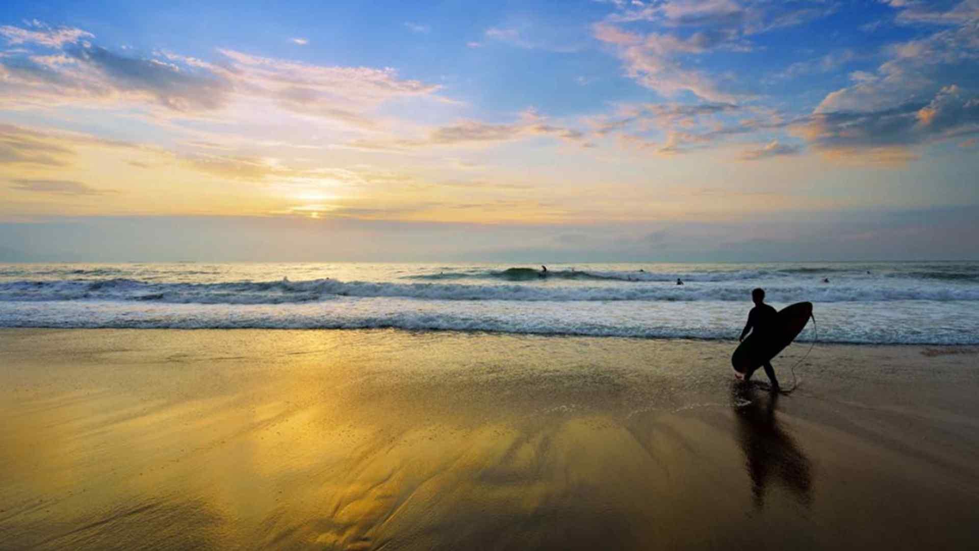 美丽的海边晚霞风景高清桌面壁纸