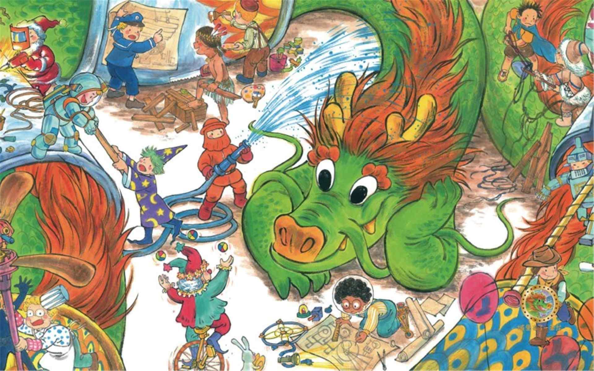 可爱儿童画《城里来了一条龙》桌面壁纸
