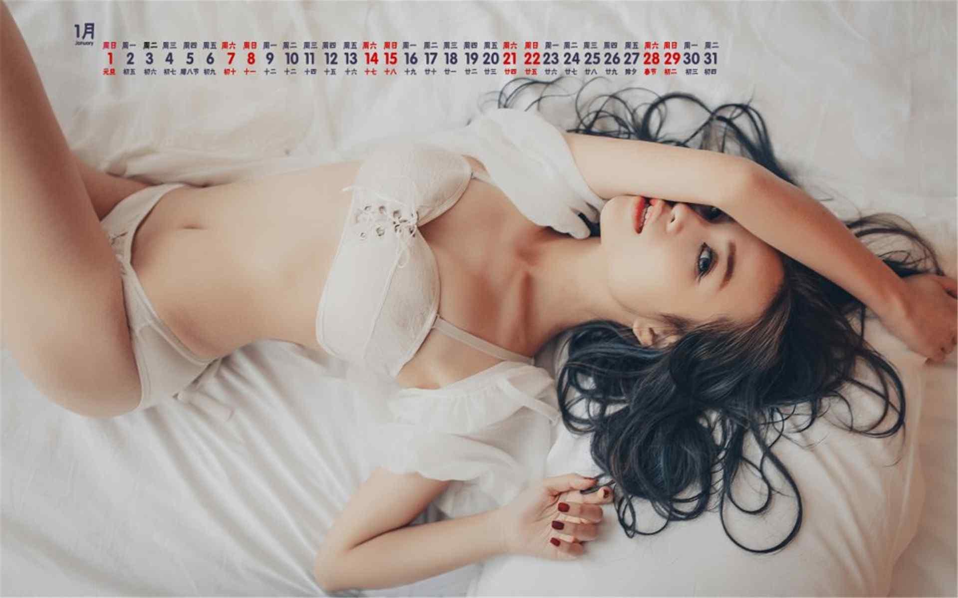 2017年1月日历气质美女写真桌面壁纸