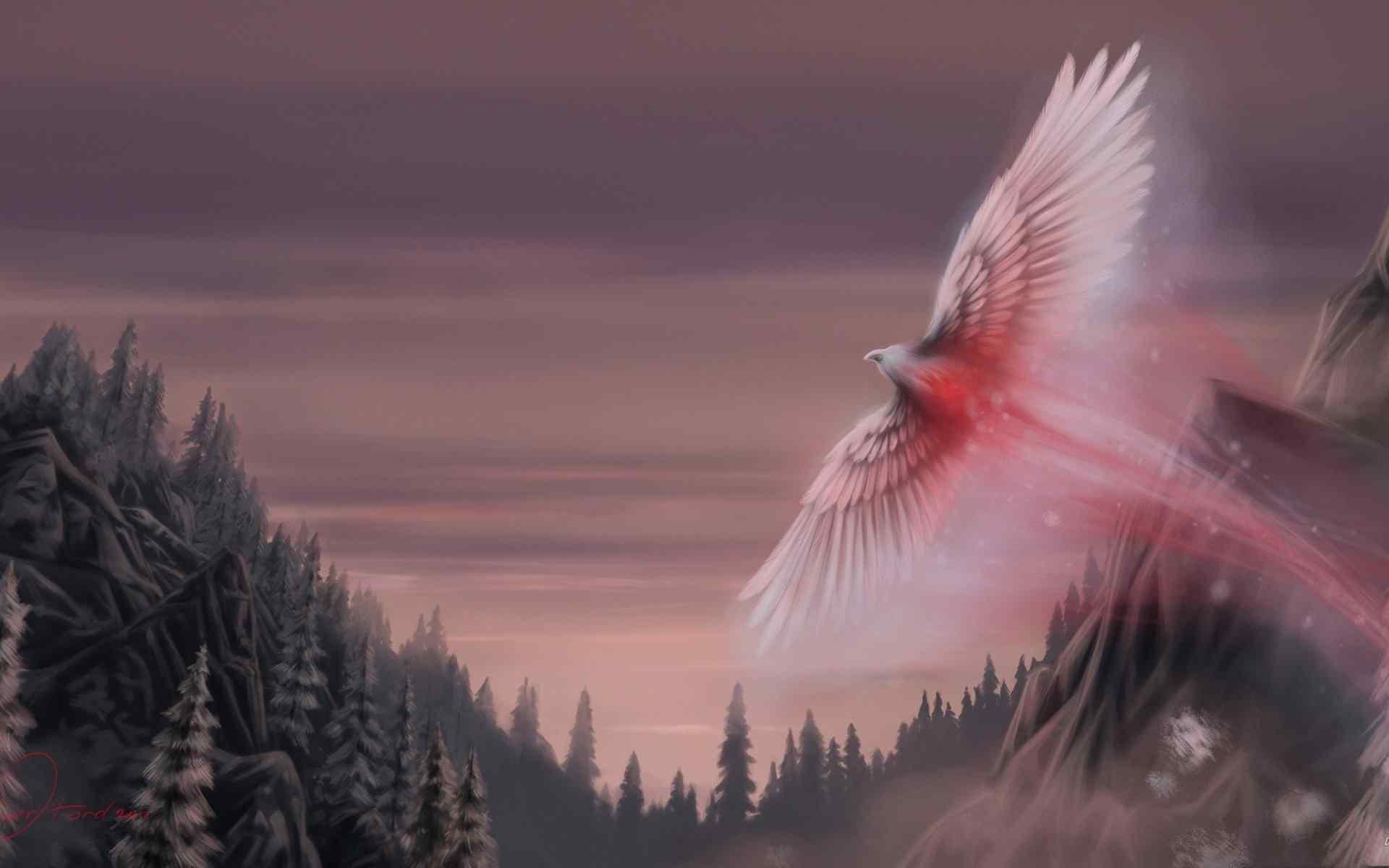 上古神兽火凤凰唯美手绘壁纸